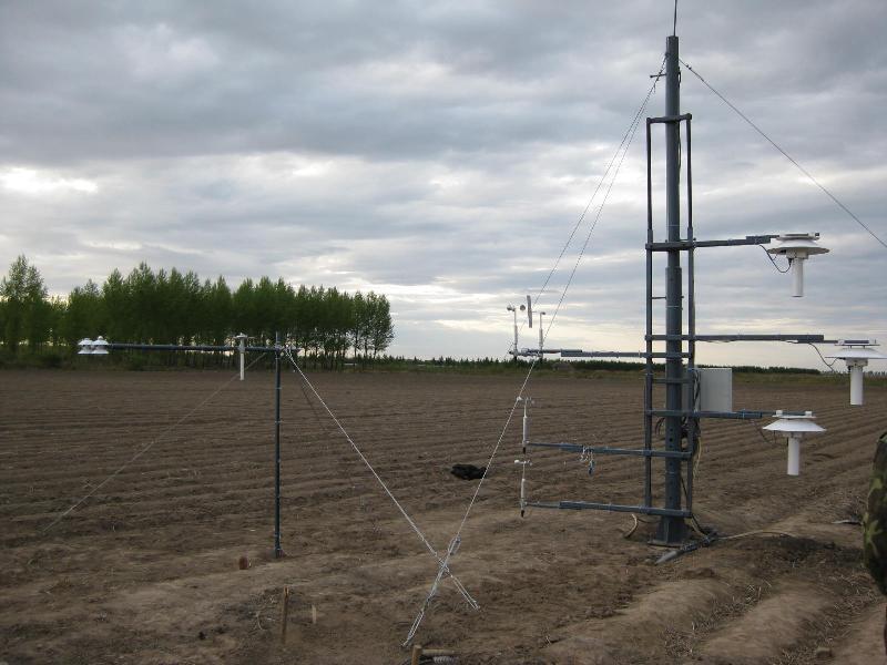 旱田辅助观测场内安装的旱田小气候观测系统