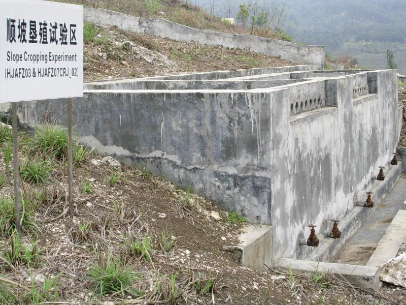环江站坡地顺坡垦植辅助观测场人工径流池